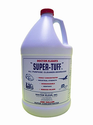 Super Tuff industrial strength cleaner degreaser is the Best cleaner for upholstery, carpet stains, mildew, canvas, sunbrella, patio furniture, grills, decks, teak, great for use in pressure washers for driveways, decks, to prep for paint, roof tile ad so much more. Safe for plants!