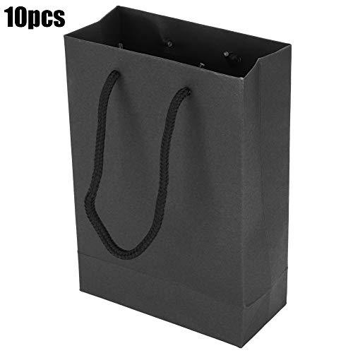 10PCs Papier Einkaufstasche, Kordelzug Tragbares Kunsthandwerk Geschenk Handtasche Verpackung werkzeuge Hochleistungs schwarze matte Einkaufstasche für Kleidung(Schwarz)
