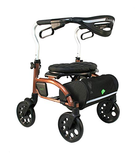 Evolution Xpresso Zero Lightweight Medical Walker Rollator with Seat, Large Wheels, Brakes, Backrest, Basket for Seniors Indoor Outdoor use (Coppery Brown, Mini)