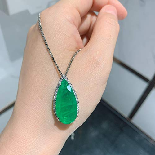 yuge Collar de plata de ley 925 en forma de gota esmeralda Paraiba turmalina turmalina piedras preciosas collar pendientes de alta joyería conjunto greennecklace