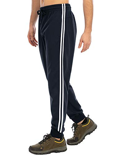 DAFENP Jogging Hommes Pantalon Survetement Homme Sport Jogger Coton Slim Fit Training Pantalon Running KZ6039M-BlueWhite-2G-L