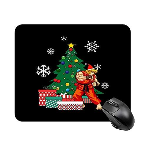 Ken Around The Christmas Tree Street Fighter Tapis de Table de Jeu antidérapant à Grande Vitesse, Tapis de Souris de Base en Caoutchouc carré de Bureau, Petit Tapis de Bureau personnalisé
