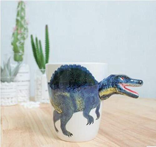 QQYG Taza de cerámica 3D con Forma de Dinosaurio Taza de Animales Pintados a Mano Taza de café de cerámica Taza de té con Leche Regalos de cumpleaños-Spinosaurus_301-400ml