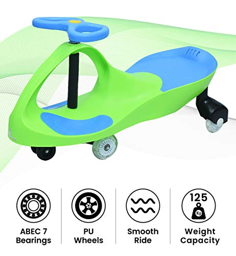 R for Rabbit Iya Iya Plasma Car Strongest & Smoothest Ride On Toy Wiggle Car for Kids with Pu Wheels (Green Blue)