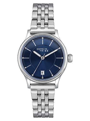 Breil Tribe Damen Armbanduhr Classy Classic Elegance Blue Edelstahl Silber-Blau 32mm, Wasserdichtigkeit: 5 Bar, EW0497