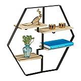 relaxdays 10028929 Estantería Hexagonal de Pared, Cuatro baldas, Madera y Hierro, 52x60x12, 1 Ud, Negro/ Marrón