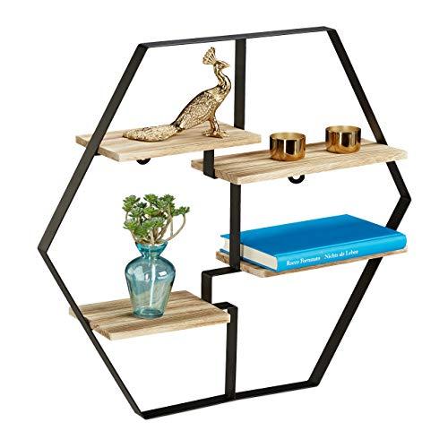 Relaxdays Hexagon Regal für die Wand, 4 Ablagen, Holz & Eisen, sechseckiges Wandregal HBT 52x60x12 cm, schwarz/natur