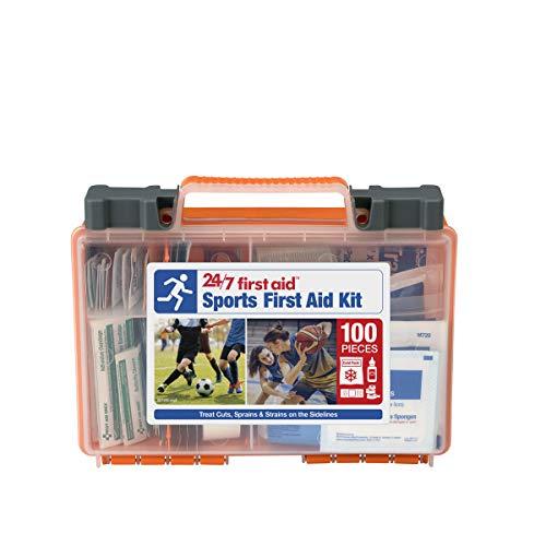 24/7 First Aid 100 Piece Sports First Aid Kit, Orange