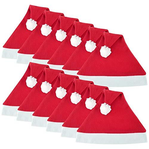 WELLGRO 12 Weihnachtsmützen mit Bommel - 30 x 30 cm (BxH), Einheitsgröße, rot/weiß