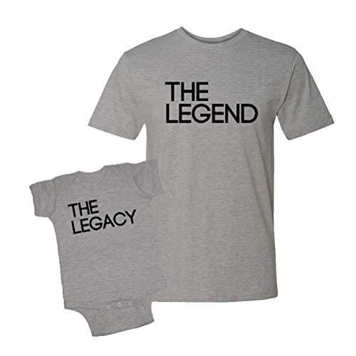 The Legend & The Legacy Infant Bodysuit & T-Shirt Matching Set (Heather, Large/6M)