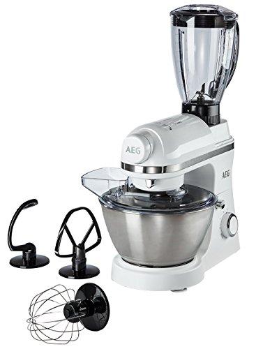 AEG KM 3200 Küchenmaschine (1 PS, 6 Geschwindigkeitsstufen, Pulse-Funktion, inkl. Umfangreiches Zubehör und aufsetzbarer Standmixer, 4 l Edelstahl-Rührschüssel mit Spritzschutz, Saugfüße) weiß