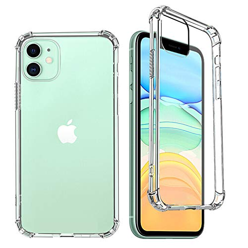 iPhone 12pro Case with Tempered Glass Screen Protector (Acrylic Back and TPU Bumper), Shock-Absorptio, Full Protection Cover - Clear
