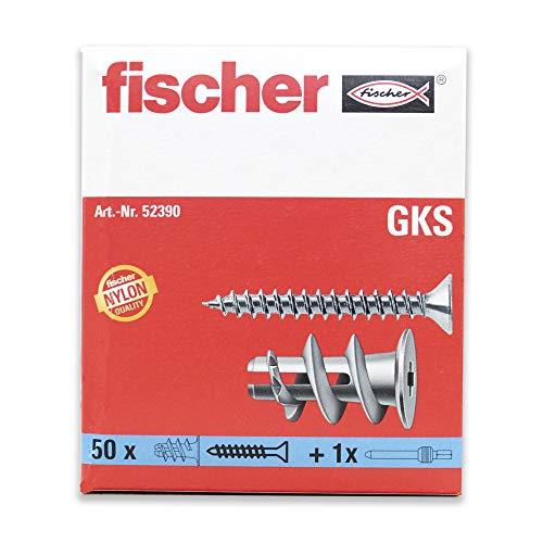 fischer Gipskartondübel GK S mit Schraube, starker Gipskarton-Dübel, selbstschneidendes Gewinde, einfache Montage in Gipskarton, Kreuzschlitz-Antrieb, 50 Stück