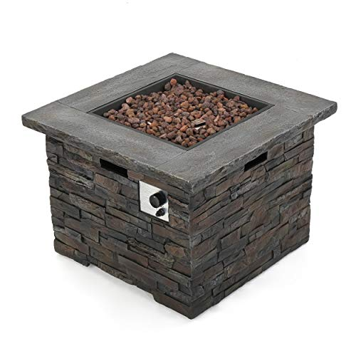 Christopher Knight Home 300715 Stonecrest Outdoor Propane Gas Fire Pit 40000BTU, Grey Stone