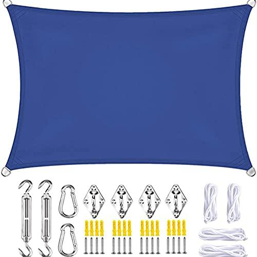 QYQS Sombra de Camisas de Jardín, Relojes de Rectángulo de 13.1x22.7 Pies y Sombrillas Cuadradas para Jardín, con Kit de Fijación, Fácil de Instalar, (Color:Azul)