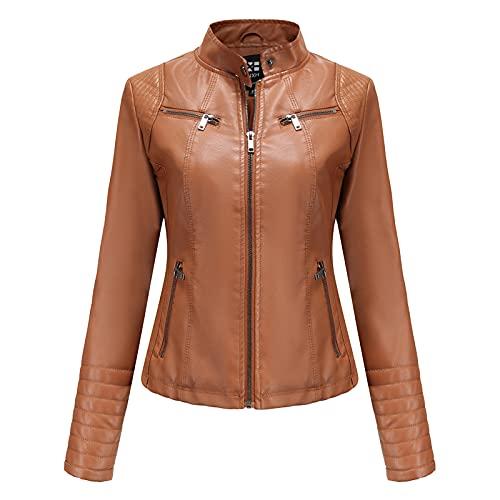 CouieCuies Mujer chaqueta cuero primavera y otoño Thin Locomotive ropa chaqueta cuero Short Moda Jacket 5 Colors Camel-XL