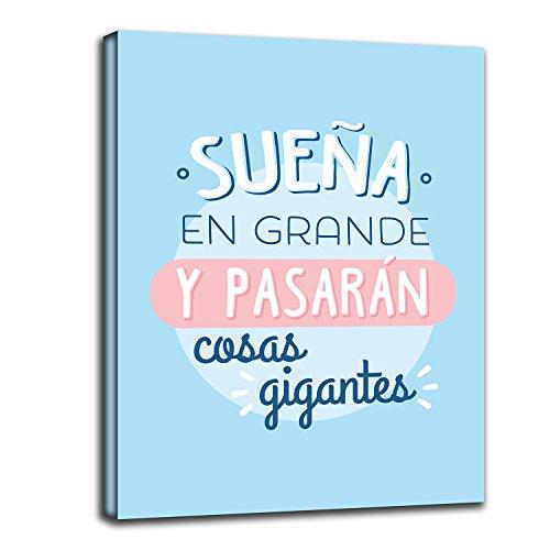 RuidoRosa Cuadro Frase motivadora SUEÑA EN Grande Y PASARÁN Cosas Gigantes (40x30)