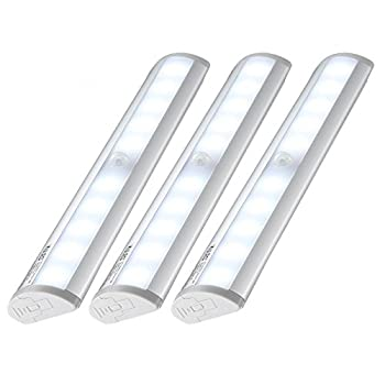 Kuled 10-led Wireless Motion Sensing Stick-on Anywhere Step LED Light Bar with Magnetic Strip Pure White 3-Pack