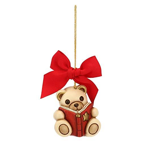 THUN - Addobbo Teddy con Libro per Albero di Natale - Formato Grande - Ceramica - Linea Preludio d'inverno - 6x5,9x4,7 cm