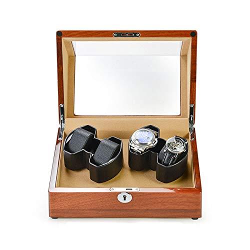 Oksmsa Rectángulo Cajas Giratorias para Relojes Automatico, Motor Silencioso, 4 Modos De Rotación, Madera Bobinadora para Reloj Caja De Almacenamiento (Color : A)