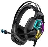 Cascos PS4 con Micrófono, Auriculares Gaming Profesional con Doble Haz, 50mm Drivers Sonido Envolvente, Reducción de Ruido y Comodidad, para PS4/Xbox one/PC/Tableta