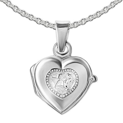 CLEVER SCHMUCK Juego de colgante infantil de corazón con ángel de 10 mm como medallón de plata brillante con borde de ángel diamantado + cadena de 42 cm de plata de ley 925 en estuche blanco