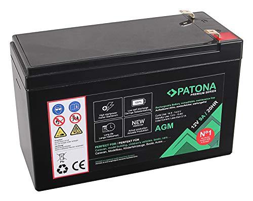PATONA Premium AGM 12V 9Ah Blei Batterie VRLA Wartungsfrei 1800 Zyklen