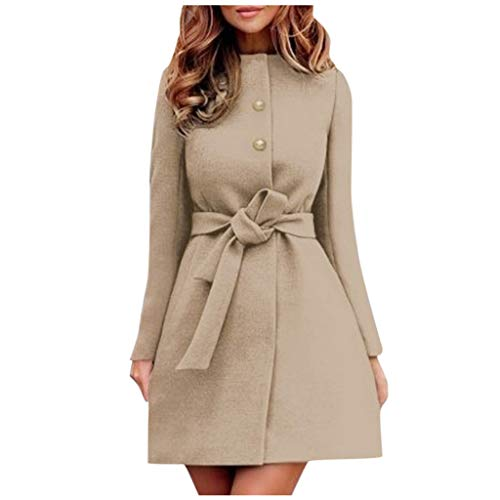Check Out This Gleamfut Womens Winter Dress Jacket Solid Color Button Waist Bandage Overcoat A-line ...