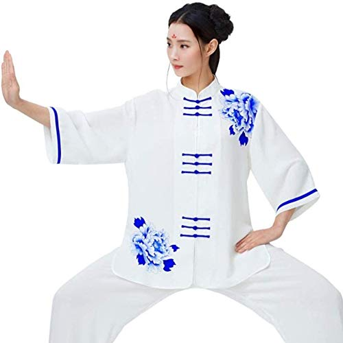 YJZ Taekwondo Tai Chi T-shirt voor dames, heren, uniseks, katoen en linnen, korte mouw, Chinese traditionele Taekwondo Tai Chi Uniform, C-X-Large