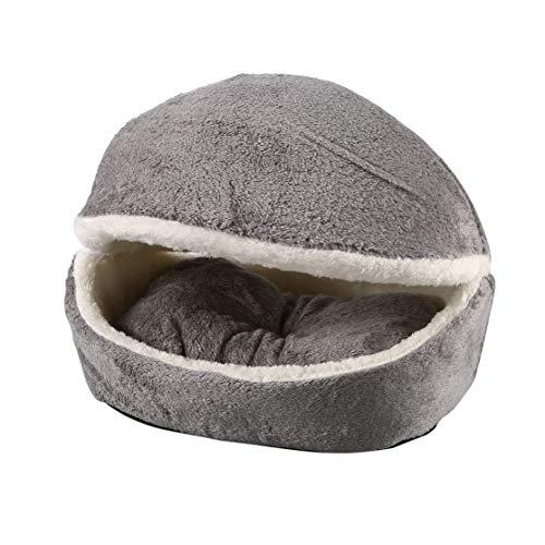Kaemma Hamburger hondenbed met afneembare deken, voor honden en katten, kussen voor puppy's, huis, slaapzak, winter, zacht, warm, rups
