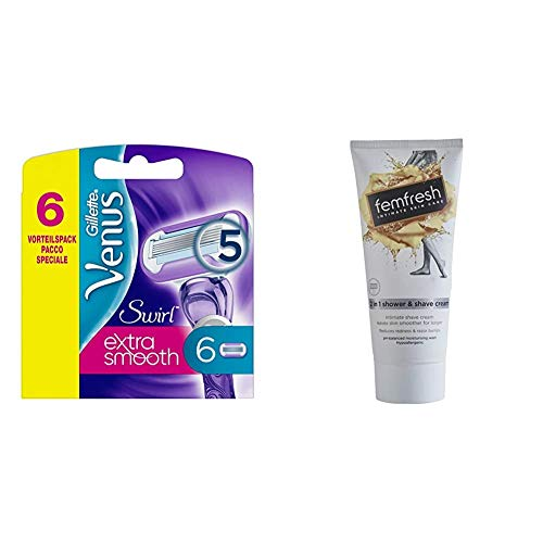 Gillette Venus Swirl Razor Blades - Pack of 6 & FemFresh 2-in-1 Shower and Shave Cream 200ml