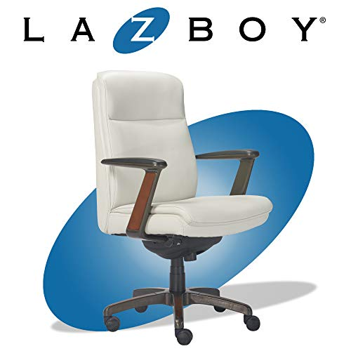 La-Z-Boy Dawson Modern Executive Office, Adjustable High Back Ergonomic Computer Chair with Lumbar Support, White Bonded Leather with Wood Inlay