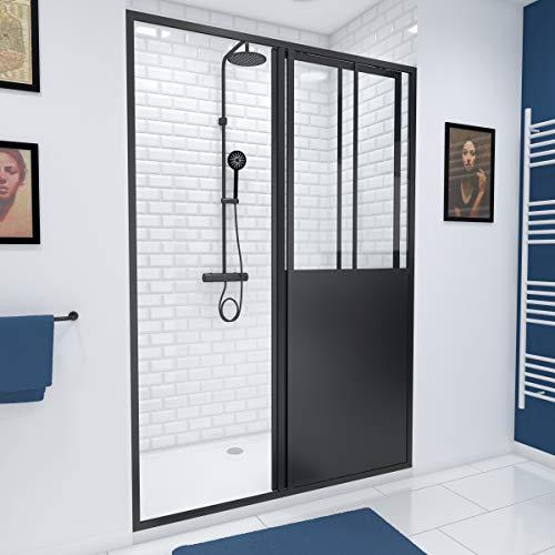 Paroi de douche coulissante type atelier - 120x200cm -...