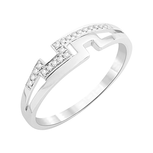 Miore - Bague - Or Blanc 9 cts - Diamant 0.06 cts - T52 - MKW9029R2
