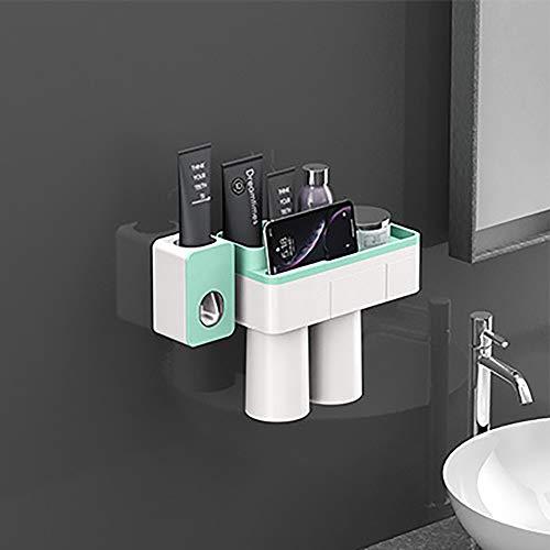LNLN Tandenborstel Houder Automatische Tandpasta Dispenser Magnetische Adsorptie Omgekeerde Beker Wandmontage Badkamer Cleaner Opslag Rack Badkamer Accessoires Set,green-2-personen