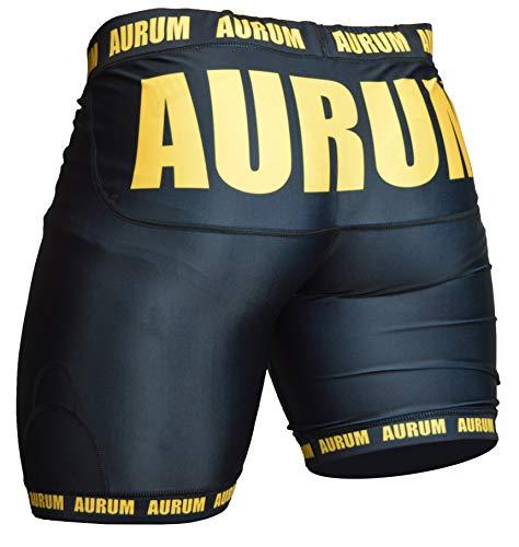 Aurum Pants for Champs Herren Kompressionshose kurz atmungsaktiv Fitness Funktionswäsche Kampfsport Laufhose(XS)