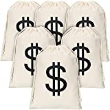 6 Pieces Dollar Sign Money Bag Canvas Drawstring Bag Halloween Robber Costume Bag for Halloween Cosplay Party Supplies (7.9x11.8inch)
