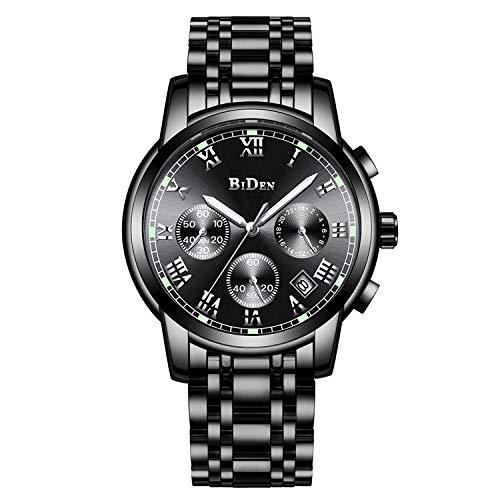 Reloj de Pulsera cronógrafo Impermeable de Reloj de Cuarzo para Hombre, Fecha automática -A
