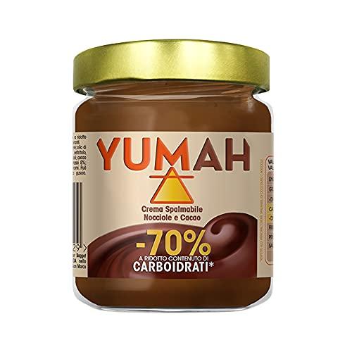 YUMAH - Crema di Nocciole Spalmabile -70% Carboidrati (1x200g); Ketofood; con Eritritolo; Zucchero ZERO Calorie; Cioccolato Low Carb; Dieta Chetogenica; Senza Zucchero; Ottimo Contenuto Proteico