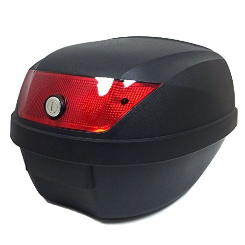 MMG Motorcycle Scooter Top Box Tail Trunk Luggage Box, 24 lt Capacity, Can Store 1 Helmet (807), Includes Security Cable Lock 70 inches