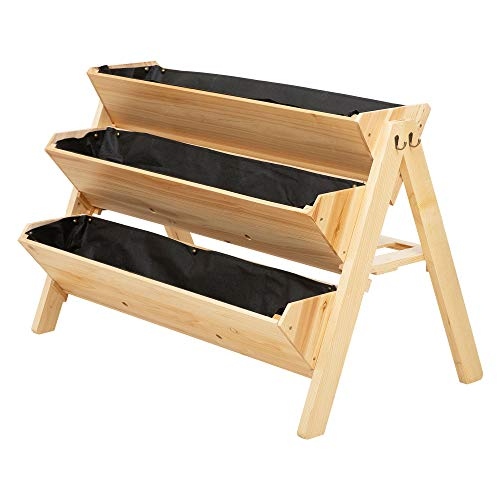 Outsunny 3 Tier Wooden Garden Raised Bed Vertical Plant Bed with Clapboard and Hooks, 120 x 68 x 80cm