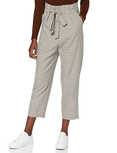 Marca Amazon - find. Check Paperbag Waist, Pantalón de Cuadros con Cintura de Fuelle Mujer, Marrón (Brown/Beige Check), 40, Label: M