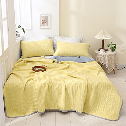 YYGQING Edredón de verano para aire acondicionado, lujoso, para siesta, habitación con aire acondicionado, cama doble, doble, tamaño king, colcha de verano (color: amarillo, tamaño: 150 x 200 cm)