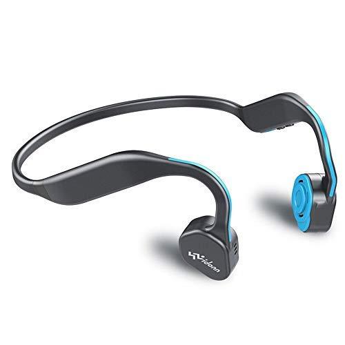 VIDONN F1 Cuffie a conduzione ossea in titanio senza fili per sport stereo a prova di sudore con microfono per corsa, ciclismo, escursionismo, orecchie aperte, blu