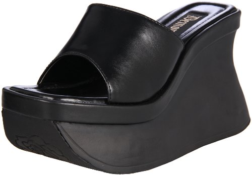 Demonia Pace-01 - Gothic Wedge-Plateau Sandaletten Schuhe 36-42, Blk Vegan Leather, 36 EU