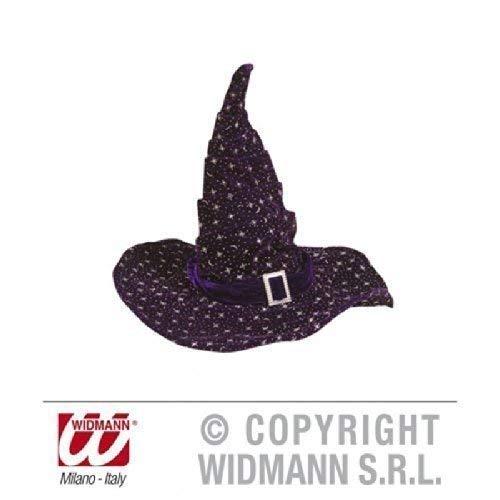 Chapeau de sorcière/magierhut en velours à paillettes argenté/violet