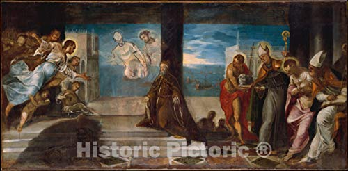 Historic Pictoric Art Print : Jacopo Tintoretto (Jacopo Robusti) - Doge Alvise Mocenigo (1507–1577) Presented to The Redeemer : Vintage Wall Décor : 24in x 12in