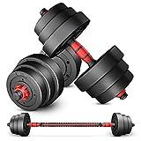 Hantel-Set mit justierbarem Gewicht, Gewichtssatz for Gewichtheben und Bodybuilding Hex Gummi...
