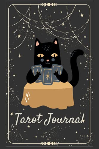 Tarot Journal: Tarot Diary For Interpreting, Learning, Understanding and Tracking Readings - Celestial Notebook - Matte Black - 200 Page Fill In - 6in x 9in Compact Size - Cat Design