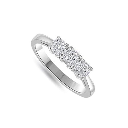 0.30ct G/VS1 Diamante Trilogy Anello da Donna con Rotonda Brillante diamanti in 18kt Oro bianco